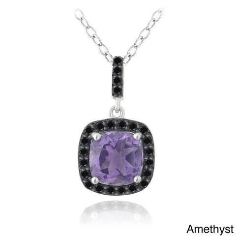 Glitzy Rocks Sterling Silver Gemstone and Black Spinel Necklace