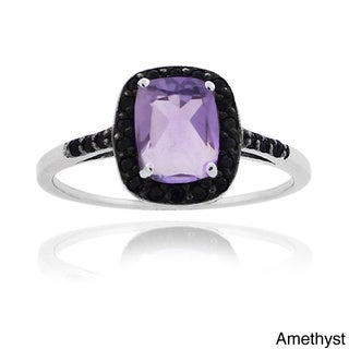 Glitzy Rocks Sterling Silver Emerald-cut Gemstone and Black Spinel Ring
