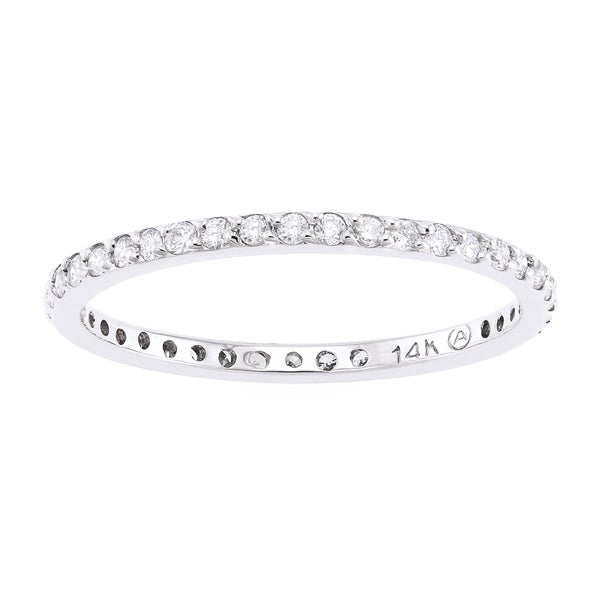 Beverly Hills Charm 14k White Gold 1/3ct TDW Stackable Diamond Eternity Wedding Band