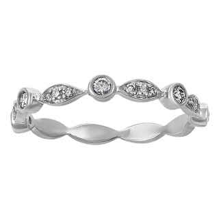 Beverly Hills Charm 14k White Gold 1/4ct TDW Diamond Art Deco Anniversary Band Ring