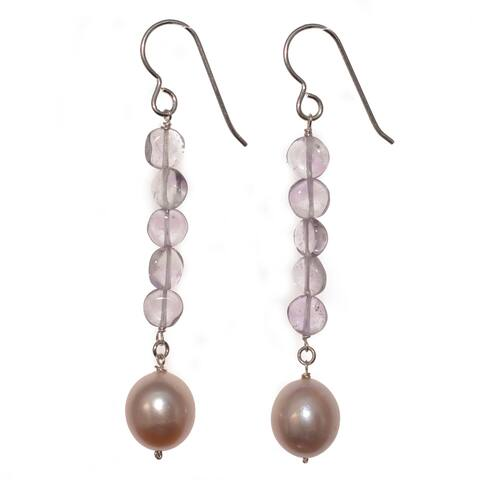 Silver Pink Pearl and Pink Amethyst Gemstone Handmade Earrings