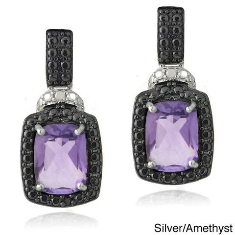 Glitzy Rocks Silver Gemstone and Black Diamond Accent Dangle Earrings