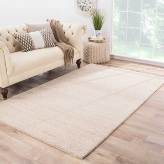 Hand-loomed Solid Pattern Ivory Rug (2' x 3')
