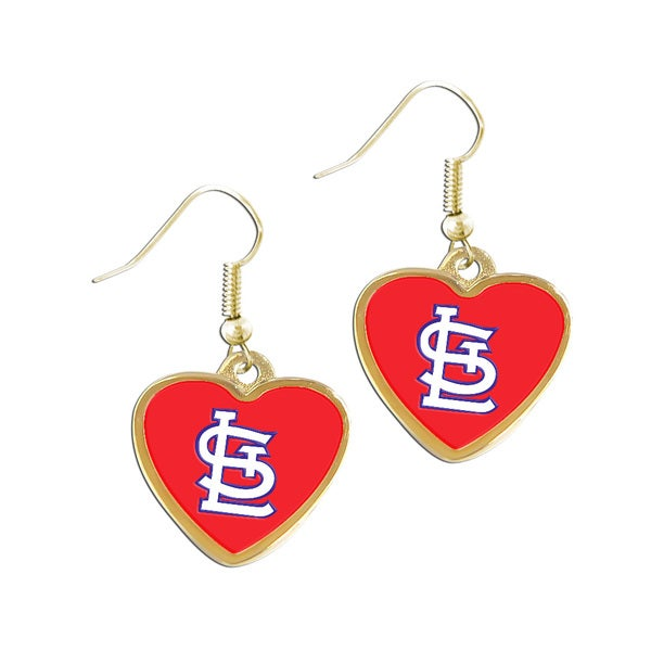 MLB St. Louis Cardinals Heart Shaped Logo Earrings