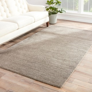 Hand-loomed Solid Pattern Gray/ Black Rug (8' x 10')