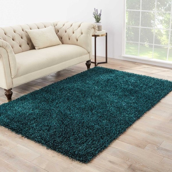 Teal Woven Rag Rug: Shop Vance Handmade Solid Dark Teal Area Rug