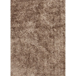 Handwoven Shags Solid-pattern Gray/ Black Rug with Nonskid Backing (2' x 3')