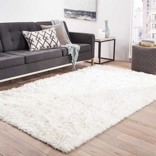 Brink Solid White Area Rug (5' X 8')