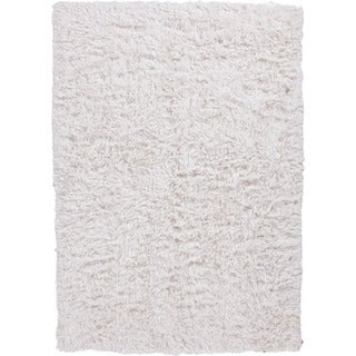 Handwoven Polyester Shags Solid Pattern Ivory Rug (2' x 3')