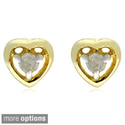 Finesque Silver Diamond Accent Heart Stud Earrings