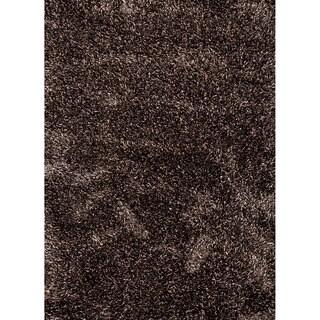 Handwoven Shags Solid-pattern Gray/ Black Ultra-plush Rug (5' x 8')