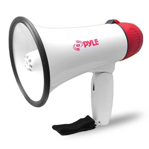 Pyle PMP37LED Mini Compact Megaphone Bullhorn with Siren Alarm and LED Lights