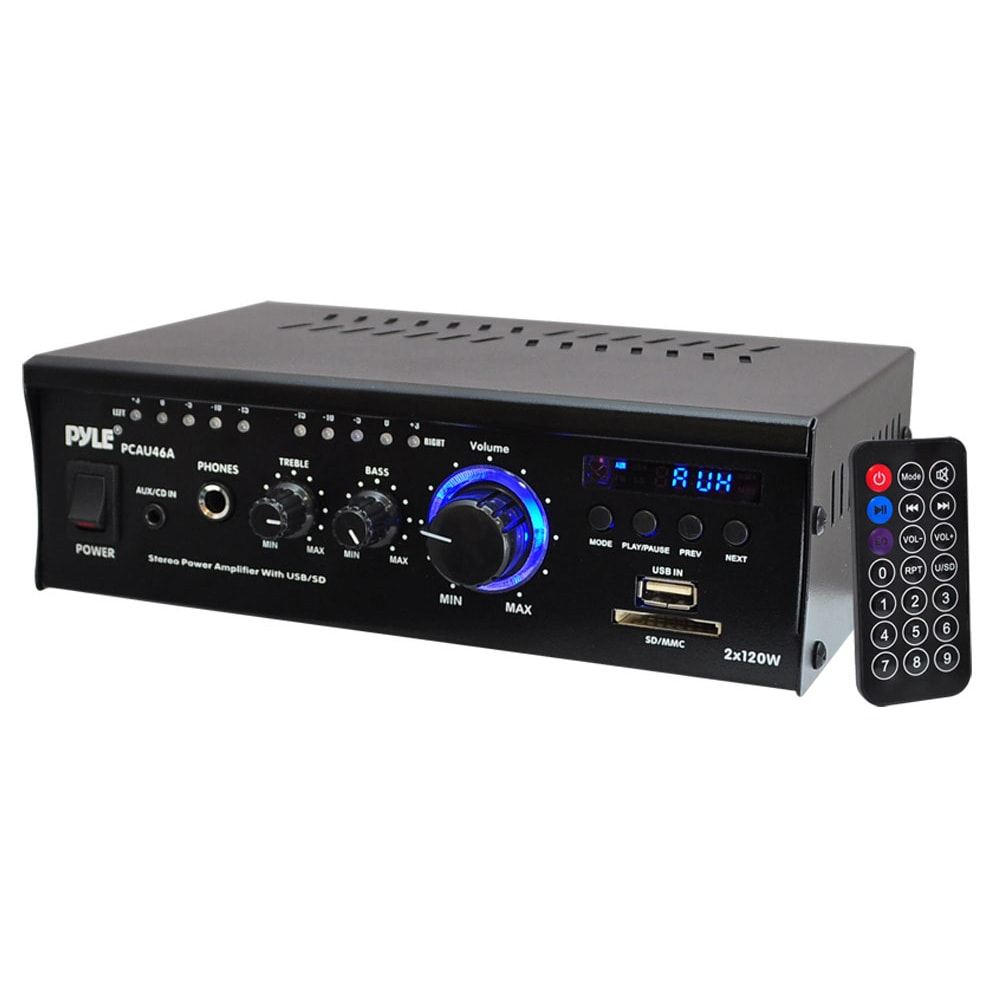 Pyle Mini 2x120 Watt Stereo Power Amplifier with USB/SD C...