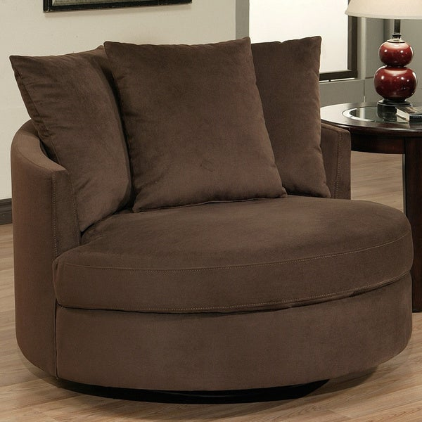 Abbyson Living Clarence Round Fabric Swivel Chair - Free ...
