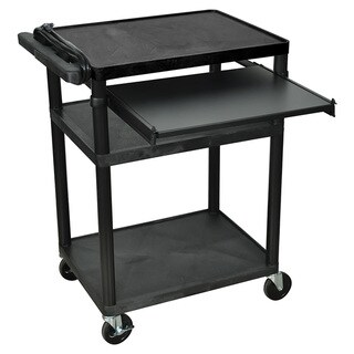 Offex OF-LP34LE-B 3 Shelves Black Multipurpose A/V Cart with Front Pullout Tray