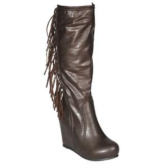 DimeCity Women's Fringed Leg Wedge Boots