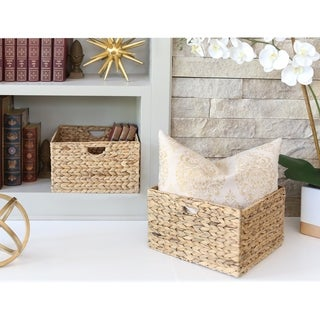 Seville Classics Natural Hyacinth Woven Storage Cube Basket (Set of 2)