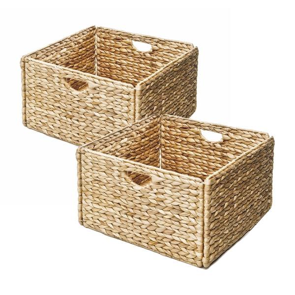Seville Classics Woven Hyacinth Storage Cube Basket (Set of 2)