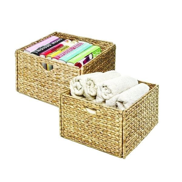 Seville Classics Woven Hyacinth Storage Cube Basket Set