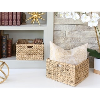 Seville Classics Water Hyacinth Storage Baskets, Hand-Woven 2-Pack