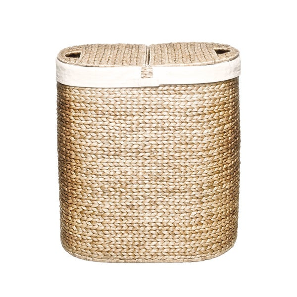 Seville Classics Hand Woven Oval Hyacinth Double Hamper