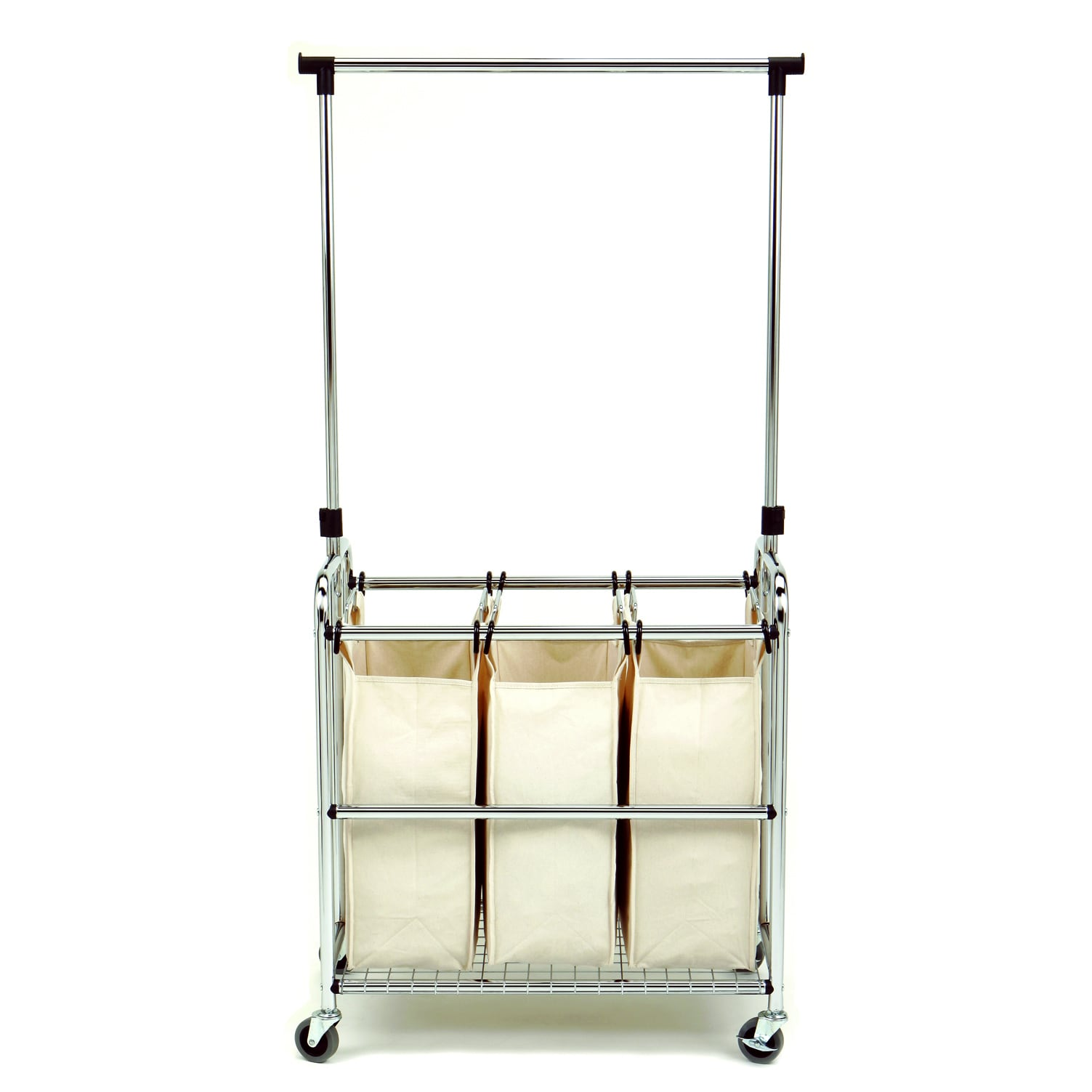 Seville Classics 3-bag Laundry Sorter with Hanging Bar (3...