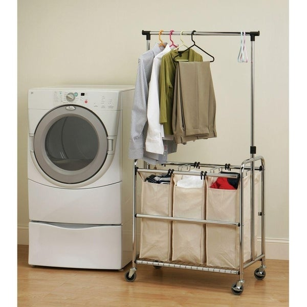 Seville Classics 3-Bag Reinforced Heavy-Duty Laundry Hamper Sorter Cart with Clothes Rack