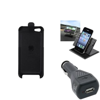 INSTEN Car Charger/ Dashboard Holder/ Holster Phone Case for Apple iPhone 5/ 5C/ 5S/ SE