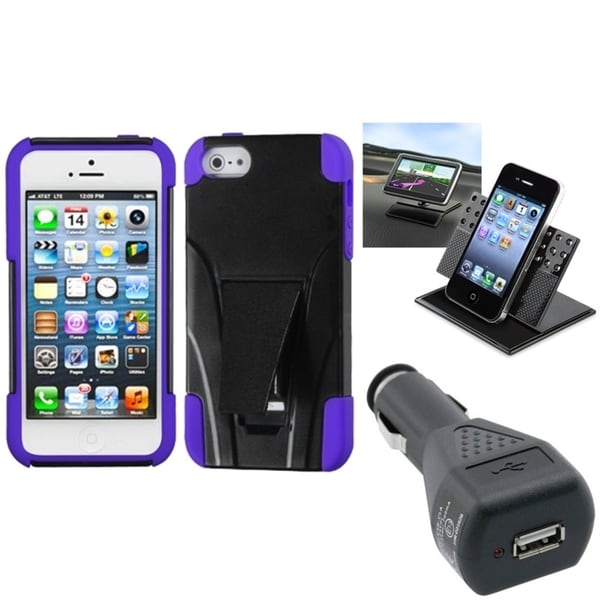 INSTEN Car Charger/ Dashboard Holder/ Phone Case for Apple iPhone 5/ 5S/ 5C/ SE