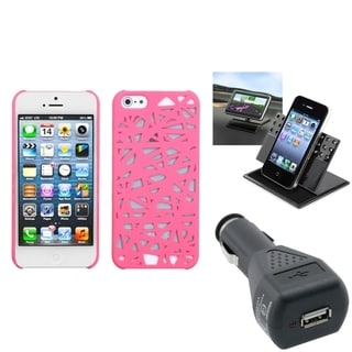 INSTEN Car Charger/ Dashboard Holder/ Nest Phone Case for Apple iPhone 5/ 5S/ 5C/ SE