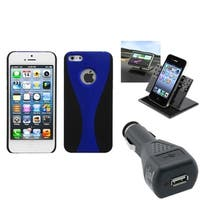 INSTEN Car Charger/ Dashboard Holder/ Blue Phone Case for Apple iPhone 5/ 5S/ 5C/ SE