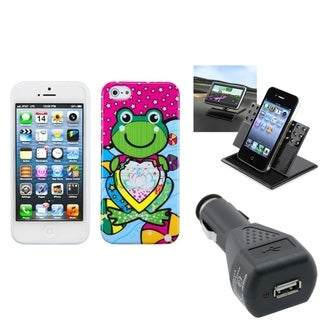 INSTEN Car Charger/ Dashboard Holder/ Frog Phone Case for Apple iPhone 5/ 5S/ 5C/ SE