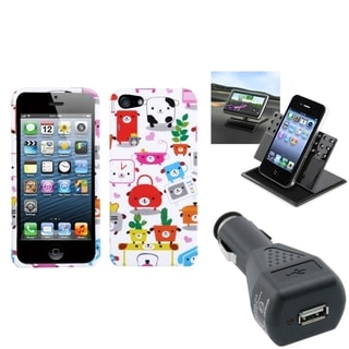 INSTEN Car Charger/ Dashboard Holder/ Dog Phone Case for Apple iPhone 5/ 5S/ 5C/ SE