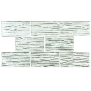 SomerTile 3 x 6-inch Arbor Subway White Glass Mosaic Wall Tile (Case of 80)