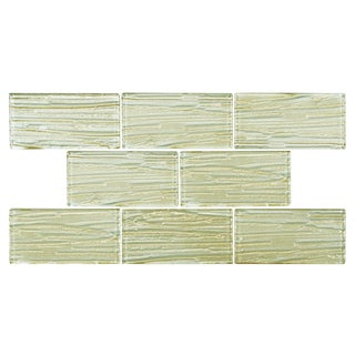 SomerTile 3x6-inch Arbor Subway Cream Glass Mosaic Wall Tile (Case of 80)