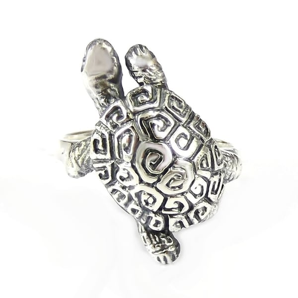 Handmade Exotic and Rare Greek Key Turtle Shell .925 Sterling Silver Ring (Thailand)