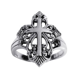 Handmade Captivating Filigree Swirl Cross .925 Sterling Silver Ring (Thailand)