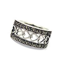 Handmade Enchanting Interconnected Hearts Marcasite .925 Sterling Silver Ring (Thailand)