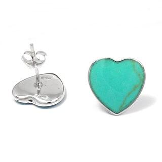 Inlaid Gemstone Charming Heart .925 Silver Stud Earrings (Thailand)