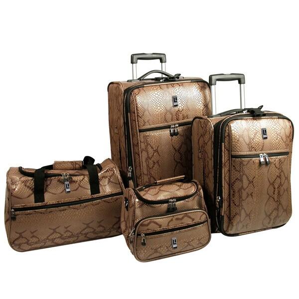 Travel Concepts 4-Piece Snakeskin Texture Expandable Luggage Set