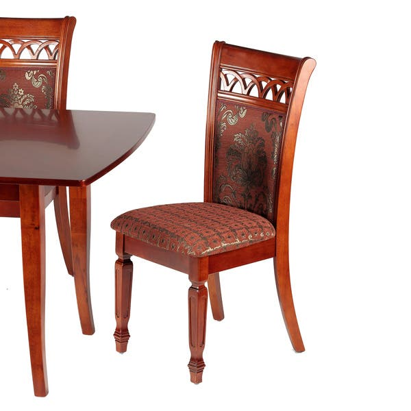 Shop Queen Anne Desk Chair Set Free Shipping Today >> Shop Queen Anne Dining Chair In Chocolate Red Fabric Gold
