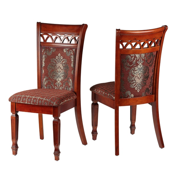 Shop Queen Anne Dining Chair In Chocolate Red Fabric Gold Accents