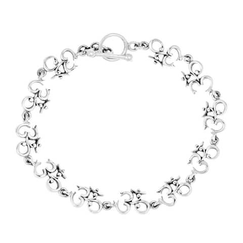 Handmade Elaborate Aum or Ohm Symbol Link .925 Sterling Silver Bracelet (Thailand)