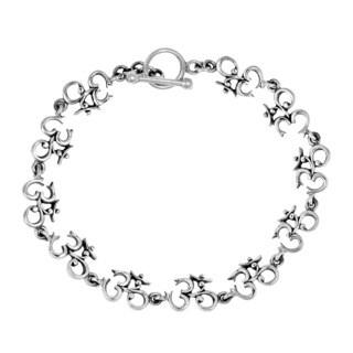 Elaborate Aum or Ohm Symbol Link .925 Silver Bracelet (Thailand)