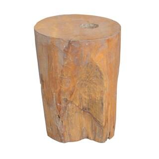 Decorative Tan Rustic Transitional Organic Teakwood Stool