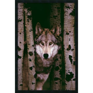 Gray Wolf' Framed Art Print with Gel Coated Finish (25 x 37-inch)
