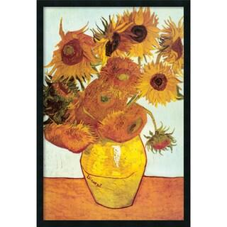Vincent VanGogh 'Sunflowers on Blue, 1888' 25 x 37-inch Framed Art