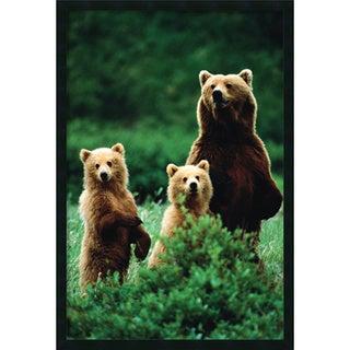 Three Bears' Framed Art Print with Gel Coated Finish (25 x 37-inch)