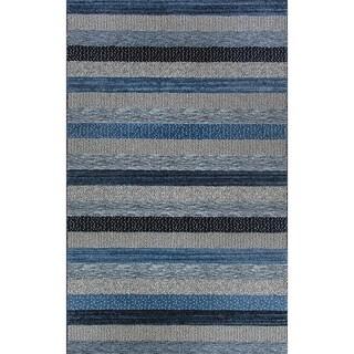 Eternity Striped Blue Rug (5'3 x 7'7)