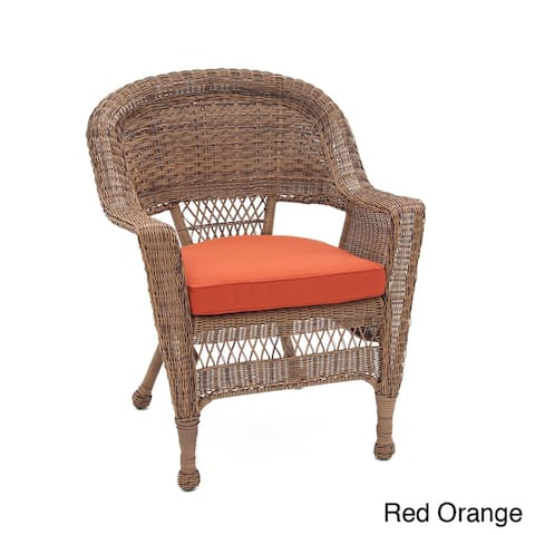 Honey Wicker Chair with Cushion